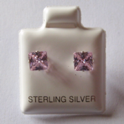 5mm square Princess cut Pink Cubic Zirconia Sterling silver Stud earrings